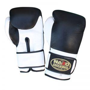 Leather Boxing Training Gloves Black & White