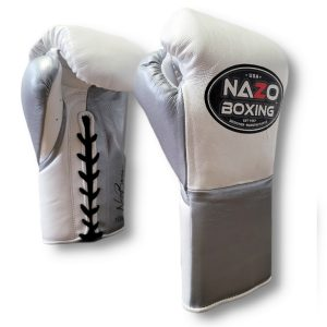 Leather Professional Fight Boxing Gloves White