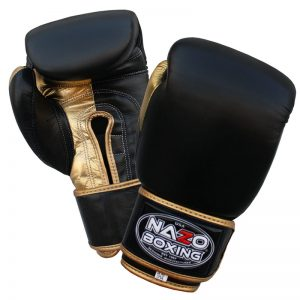 Nazo Boxing Black & Gold Leather Professional Training Gloves
