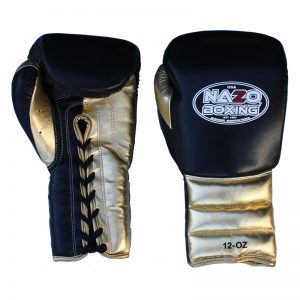 LEATHER PROFESSIONAL TRAINING BLACK & GOLD BOXING GLOVES
