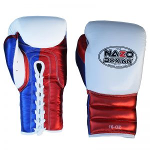 LEATHER PROFESSIONAL TRAINING WHITE, BLUE & RED BOXING GLOVES