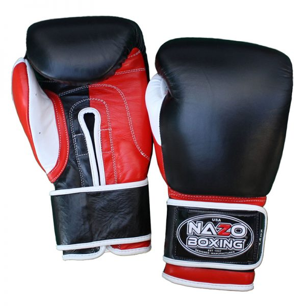 leather boxing gloves red black