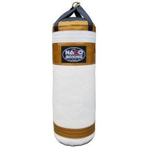 AJ 4 FT XL 135 LB Punching Bag Metallic & Gold & White