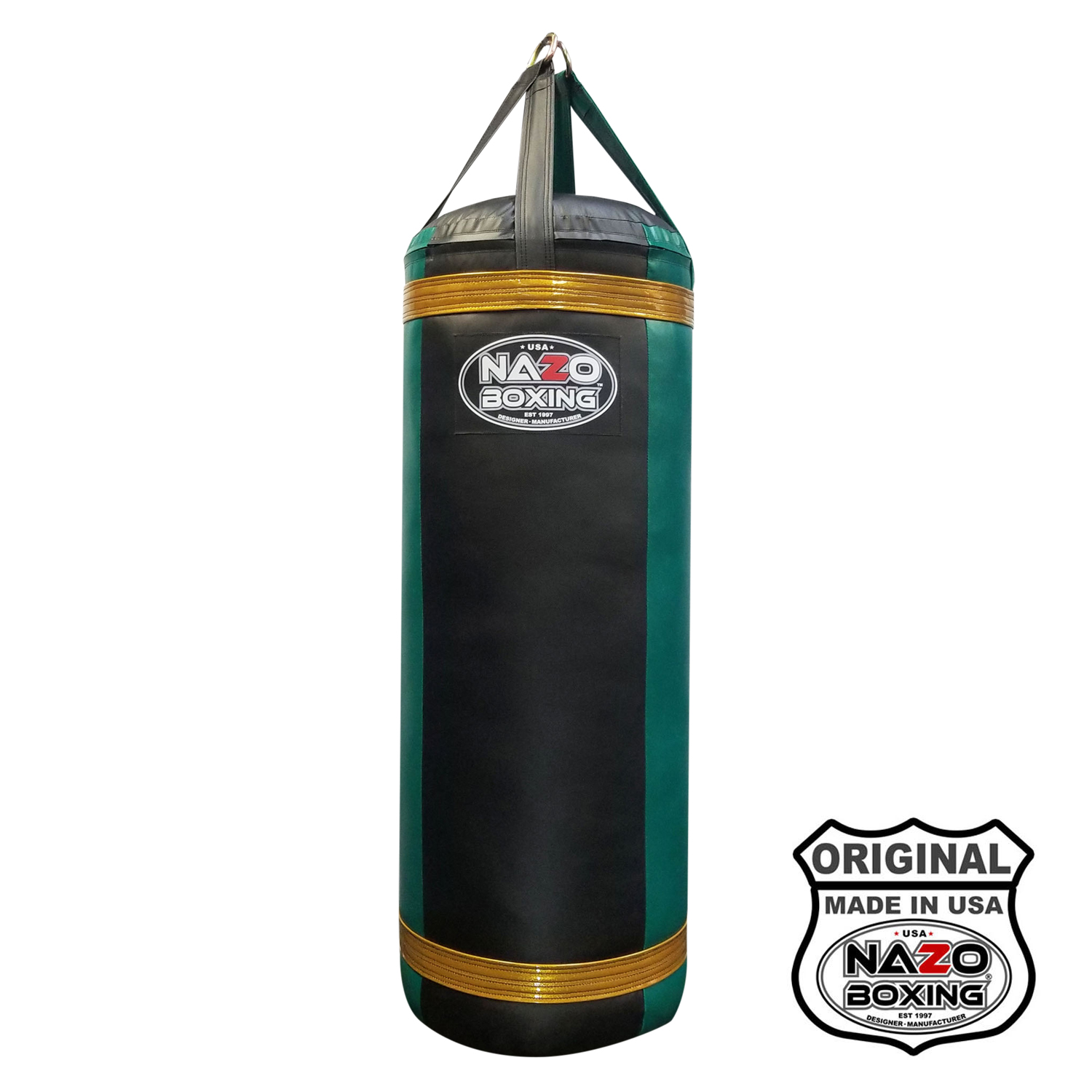 4 Ft Black Green Heavy Punching Bag made in USA