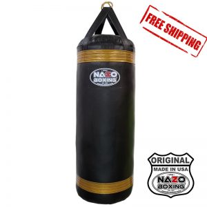 4 FT XL 135 POUND Black Gold PUNCHING BAG Made in USA